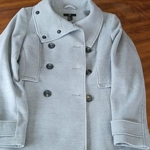 H&M Silver Double Breasted PeaCoat Jacket Coat Sm